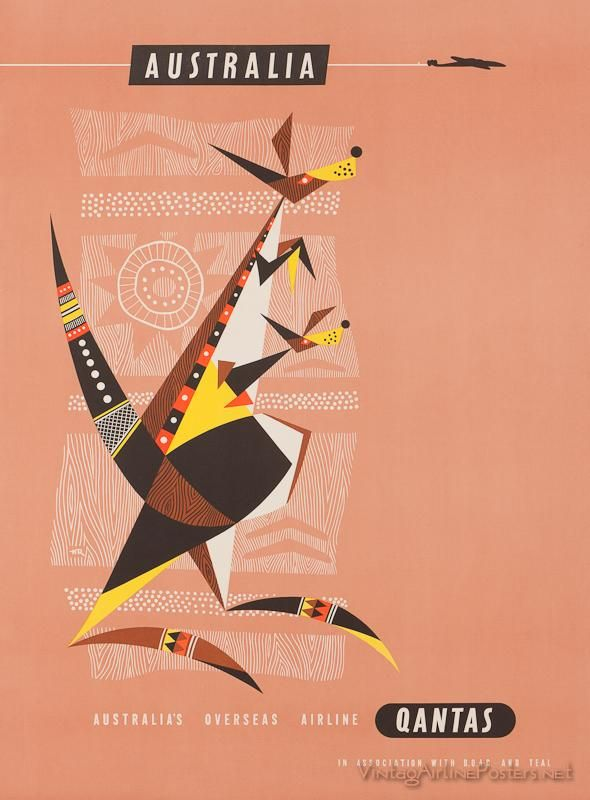 Vintage qantas new guinea Travel Art Print Poster painting bird For Glass Frames