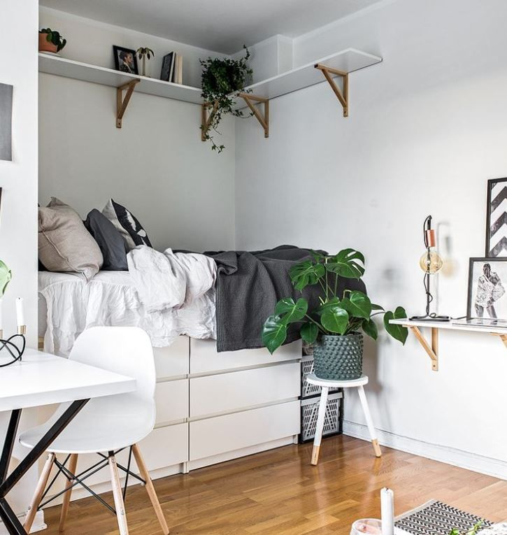 9 dreamy bedroom ideas for tiny apartments eve in 2019 pinterest kleine wohnung. Black Bedroom Furniture Sets. Home Design Ideas
