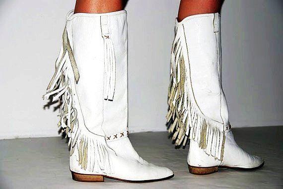 80s white tassel boots - Google Search