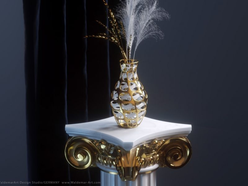 Parametrically Vase on the Pillar  Octane Render | 3D