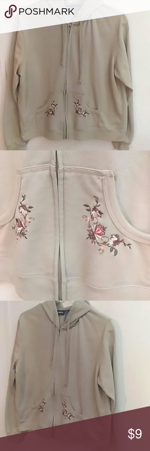 Catalina Size 12 14 Hoodie Jacket Catalina Tag Reads 12 14 Zip Front With Hood Sand Color With Floral Embroidery Ca Clothes Design Hoodie Jacket Hoodies [ 1740 x 580 Pixel ]