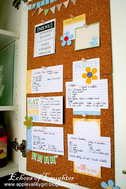 recipe board on back of a cabinet door for frequently used recipes...genius!