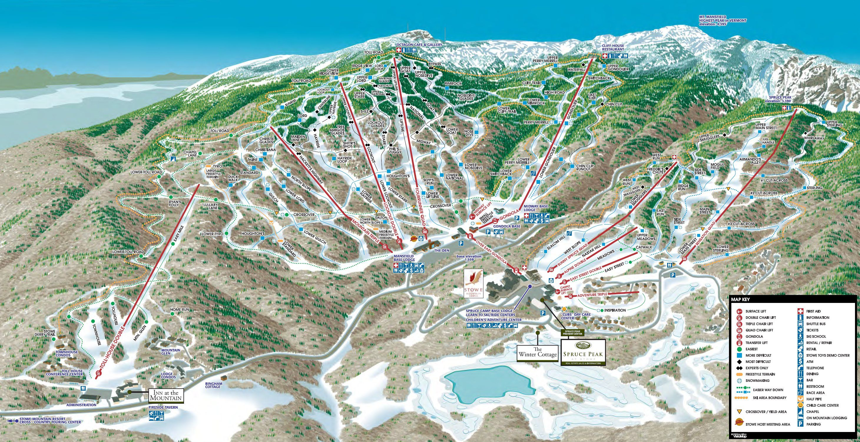 stowe trail map. | stowe, vermont | pinterest | skiing, trail maps