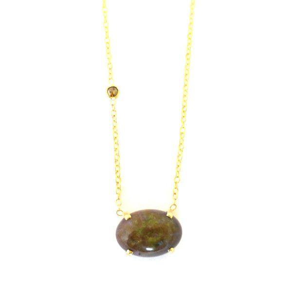 Exclusive #lindysjewelry designs 14ky opal and rough diamond necklace www.lindysjewelry.com $279