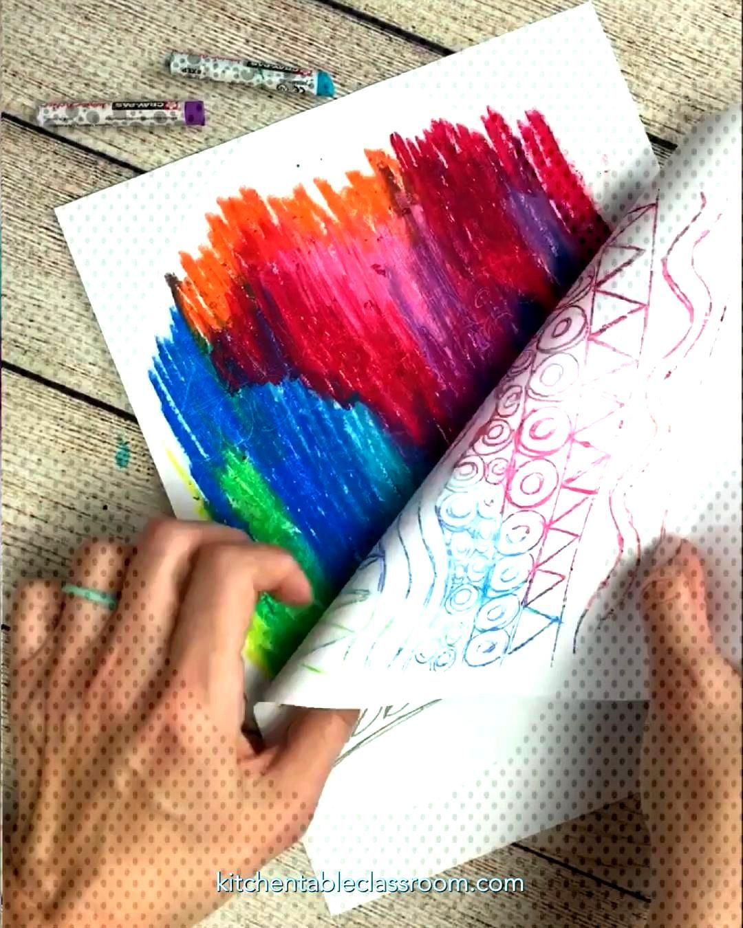 Oil Pastel Drawing in Reverse - The Kitchen Table Classroom -