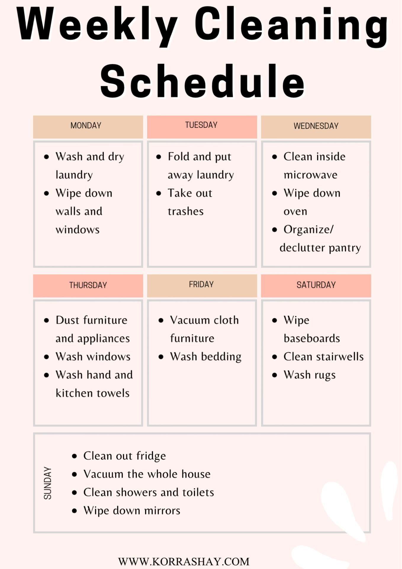 My Helpful Home Weekly Cleaning Schedule- Printable! -