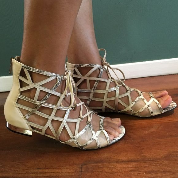 """Sam Edelman gladiator sandals 8 NEW New in box, retail $129.95, Sam Edelman """"Denver"""" sandals. Modern ivory/ soft silver. Corset-like laces caged gladiator style, done in a modern mix of leather and finished with back zip closure, leather upper, and mesh upper. Silver metallic heel. Size 8 M Sam Edelman Shoes Sandals"""