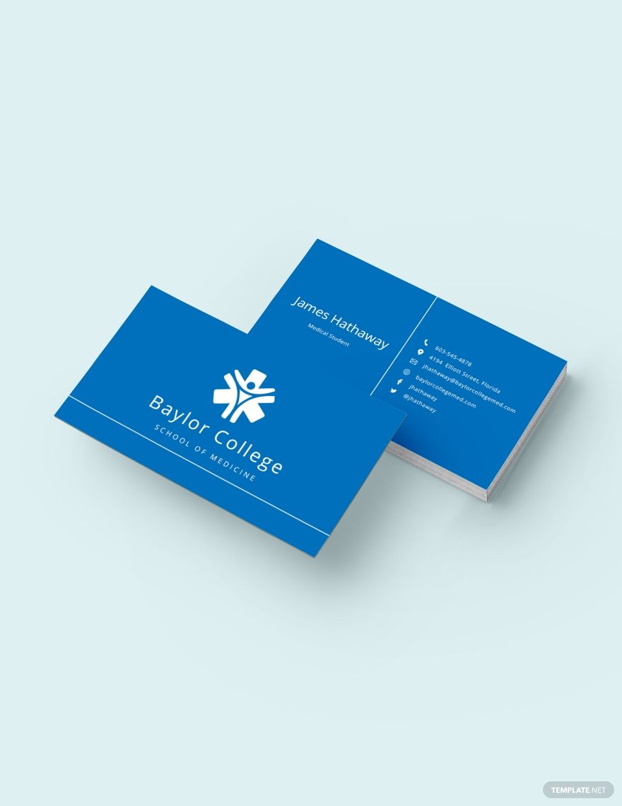 Modern Medical Student Business Card Template Word Psd Apple Pages Illustrator Publisher Student Business Cards Business Card Template Word Free Business Card Templates