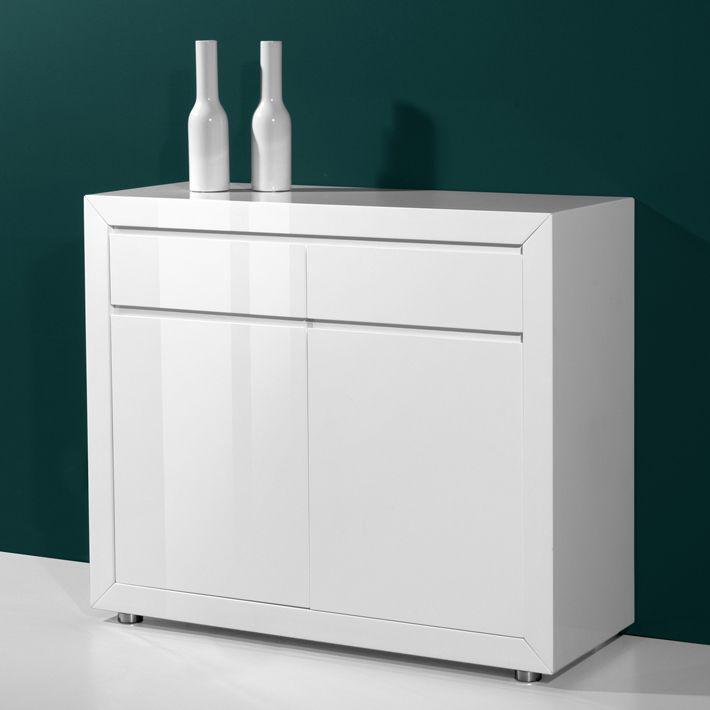 Bahut Laque Blanc 2 Portes 2 Tiroirs Jeno Filing Cabinet Design Vanity