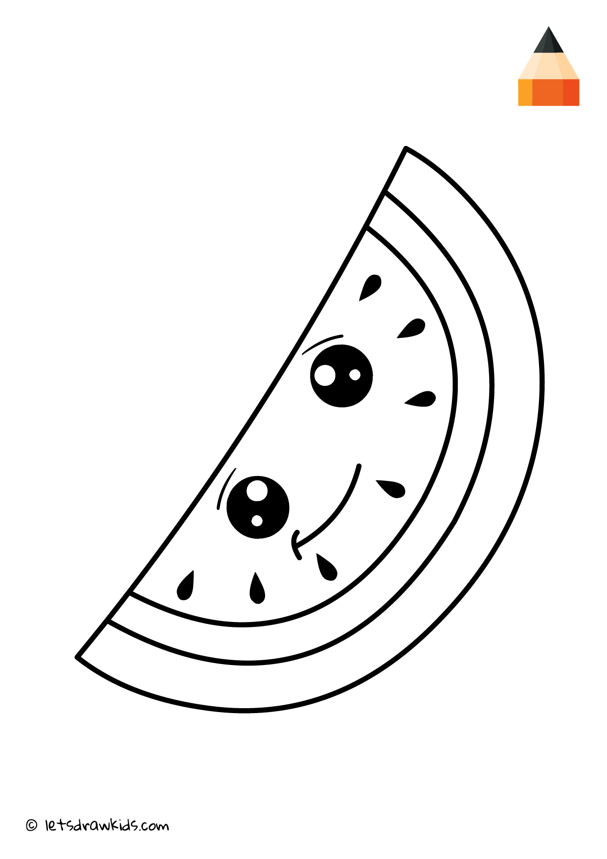 Coloring Page Cute Watermelon Drawings Coloring Pages Cute Watermelon