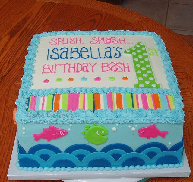 Splish Splash First Birthday Pool Birthday Cakes Splish Splash