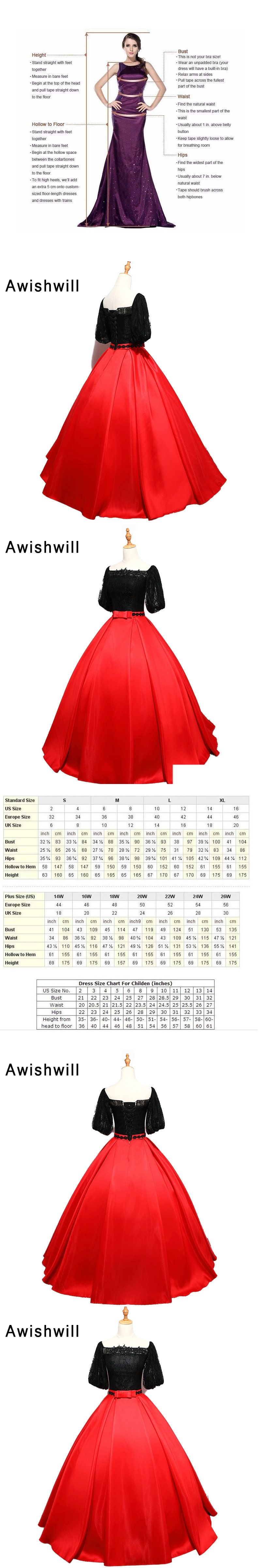 Vintage black and red color formal evening gowns princess prom dress
