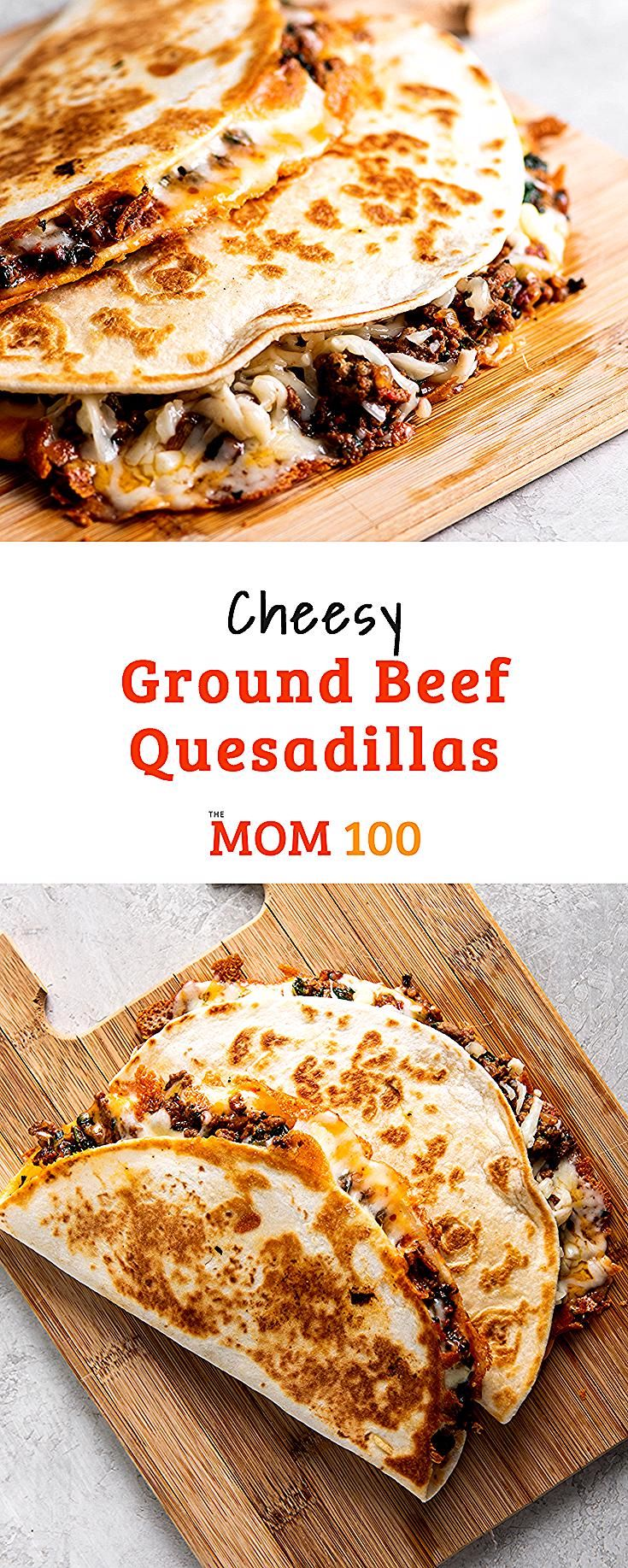 Cheesy Ground Beef Quesadillas: Like the best bar food in the world, but right h...