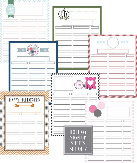 Holiday Sign Up Sheets  Easter Printable Christmas Printable