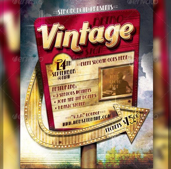 Cool Retro Vintage Sign Event Flyer Template