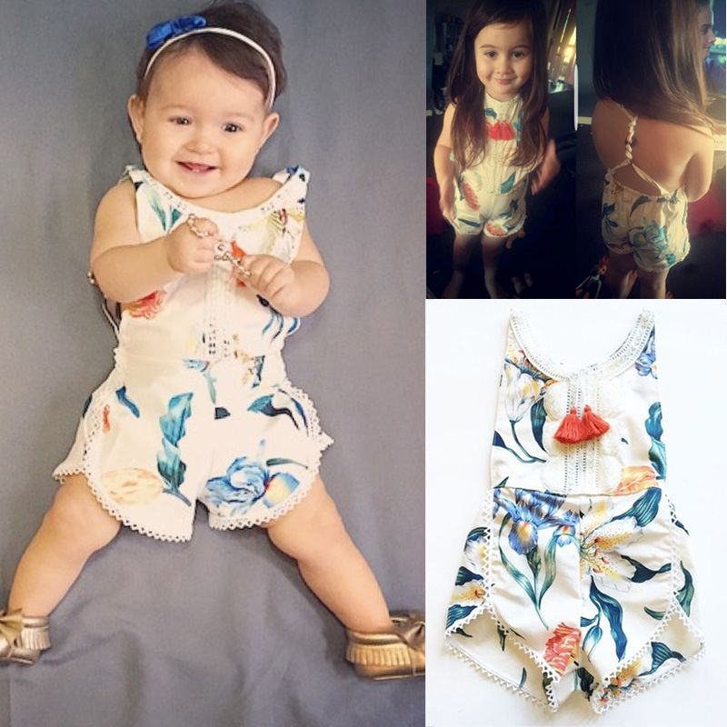 f52c8bc0205 Awesome Floral Newborn Baby Girl Kids Sleeveless Flower Romper Jumpsuit  Backless Cotton Sunsuit Outfits -  12.75
