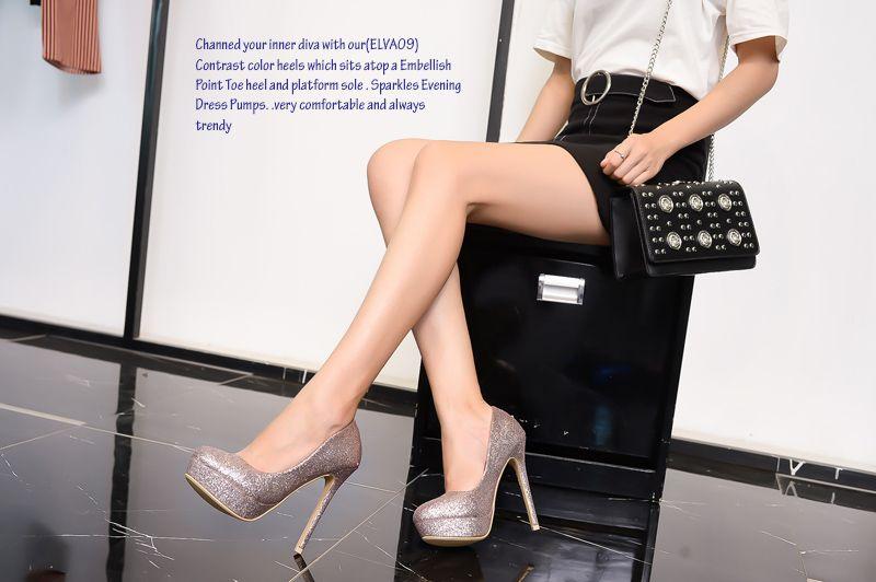 5f6bb3c6645 Mila Lady (ELVA09) Women Fashion Embellished Sparkles Party Pumps High Heel  Stilettos Sexy Slip