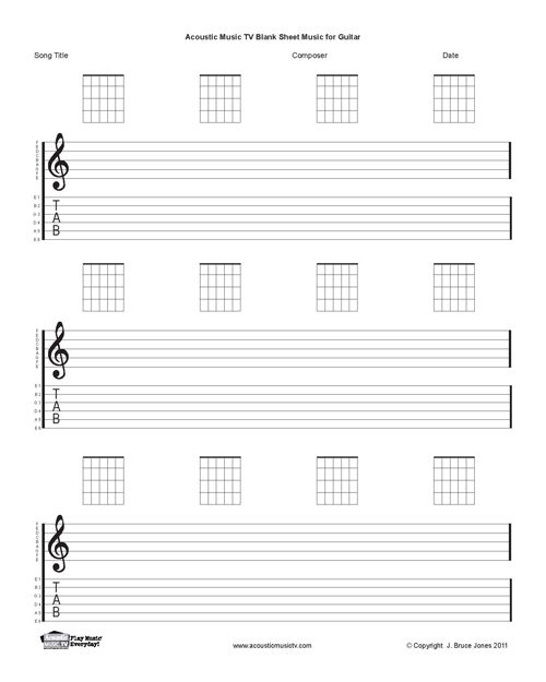 Guitar Blank Printable Sheet Music, Staff And Tab Lines, Chord