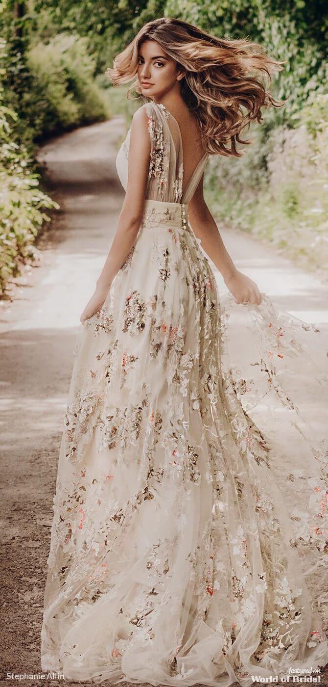 Stephanie Allin 2019 Wedding Dresses World Of Bridal Floral Wedding Dress Casual Wedding Dress Wedding Dresses