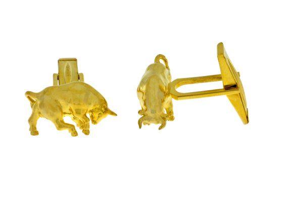 Bull Cufflinks 14Kt Yellow Gold Plated by ElizabethJewelryInc