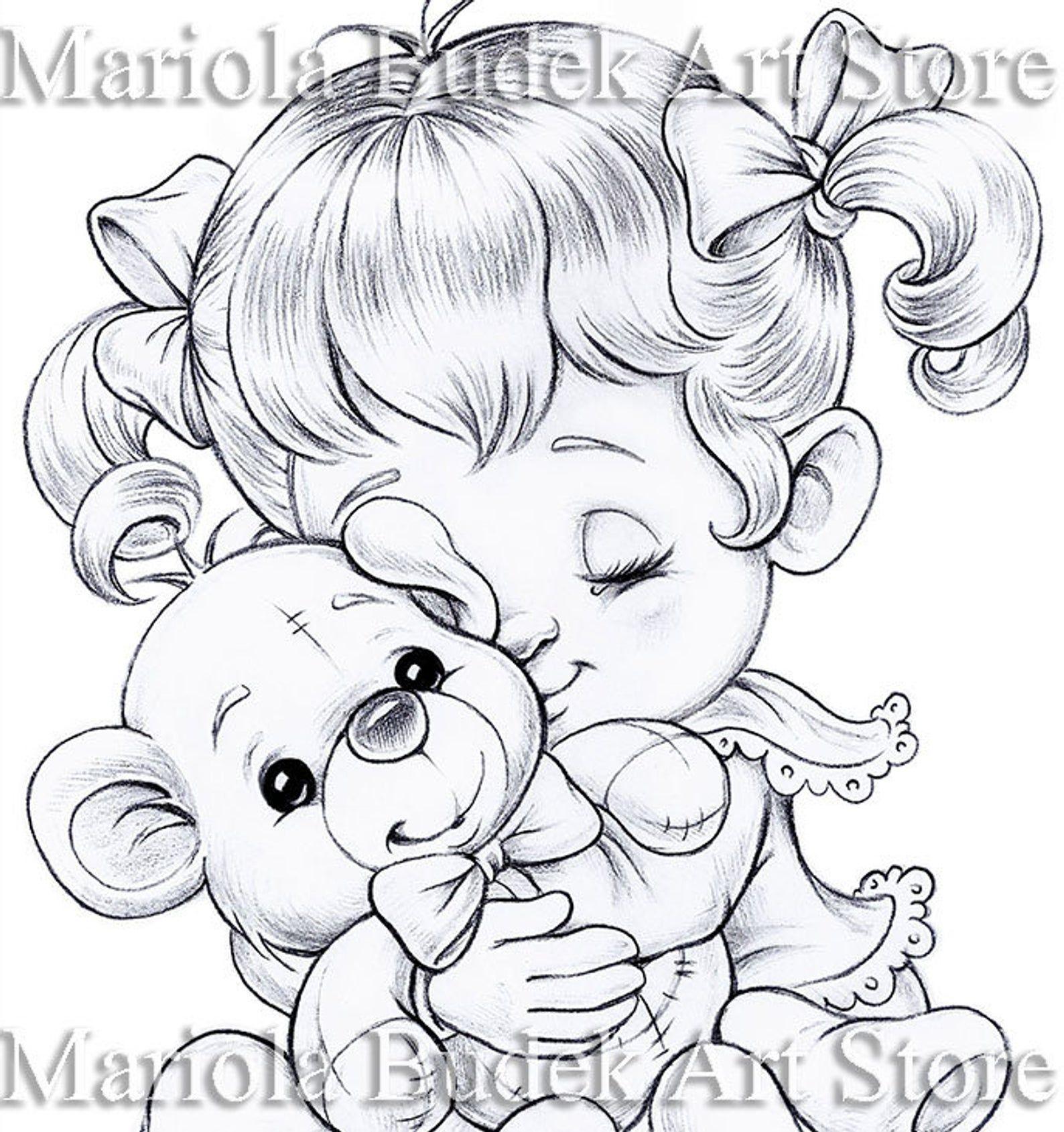 Teddy Bear Mariola Budek Coloring Page Etsy Precious