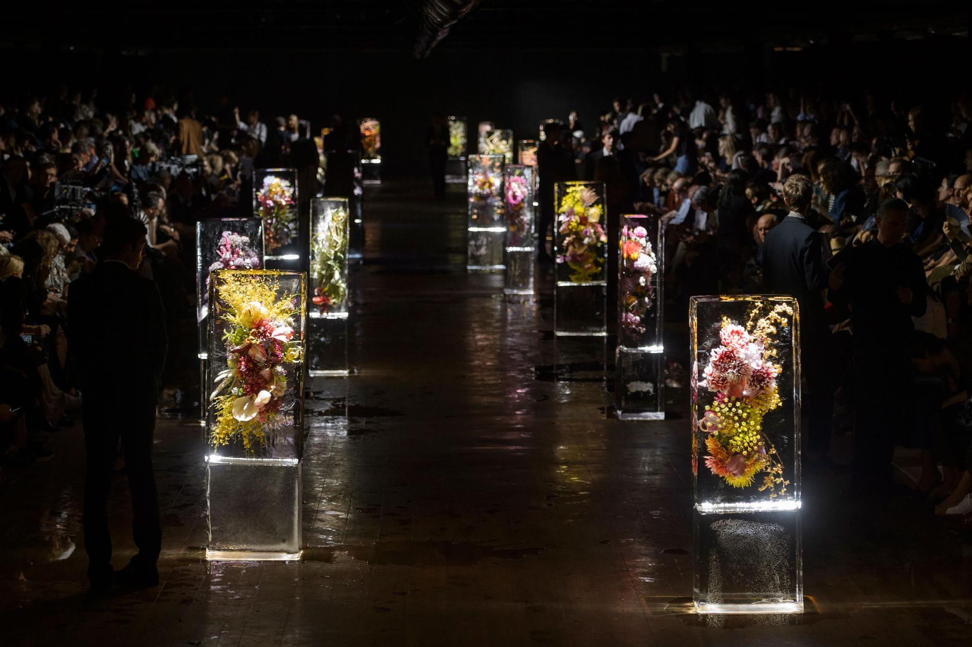 "Azuma Makoto's ""Iced Flowers"" at Dries Van Noten Paris SS Paris Fashion Week ."