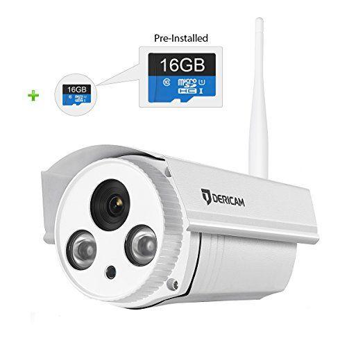Dericam Outdoor Wifi Wireless Security Camera Bullet Ip Camera Preinstalled 16gb Security Cameras For Home Home Security Camera Systems Outdoor Security Camera