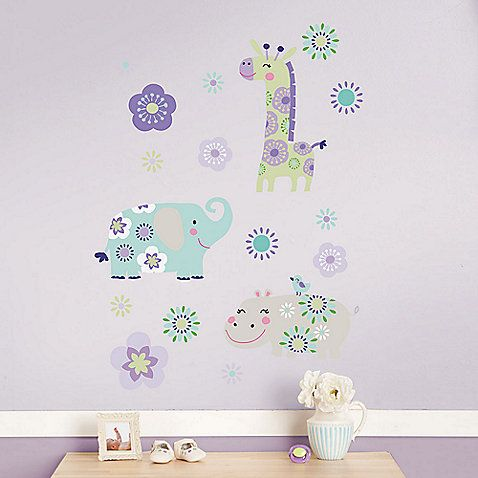 Add style and fun to the Carter's® Garden Zoo Crib Bedding Collection with these adorable wall decals. They feature an adorable giraffe, elephant and hippo characters with pretty floral accents in lilac, purple and aqua.