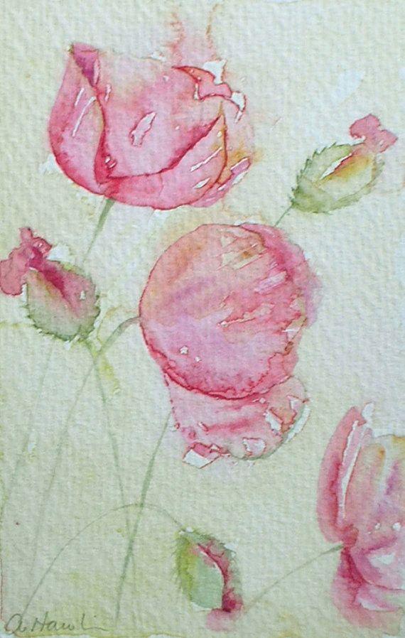 ART Watercolour painting of PINK POPPIES by Amanda Hawkins 9 x14cm ...