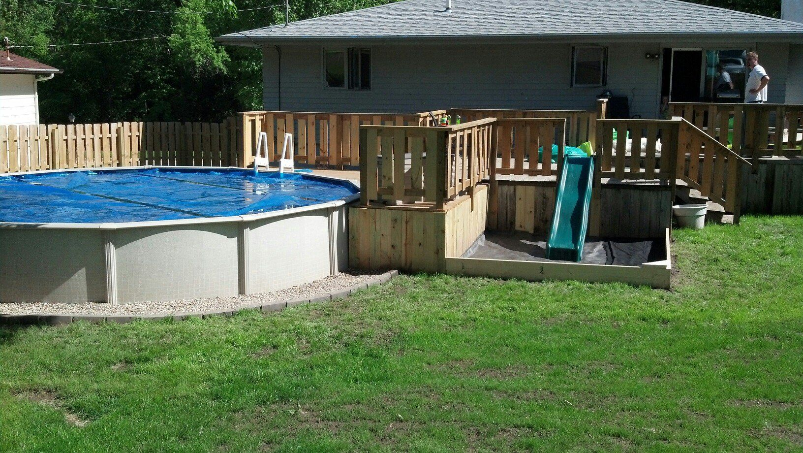 Almost Complete 21 39 Above Ground Pool With Deck Land