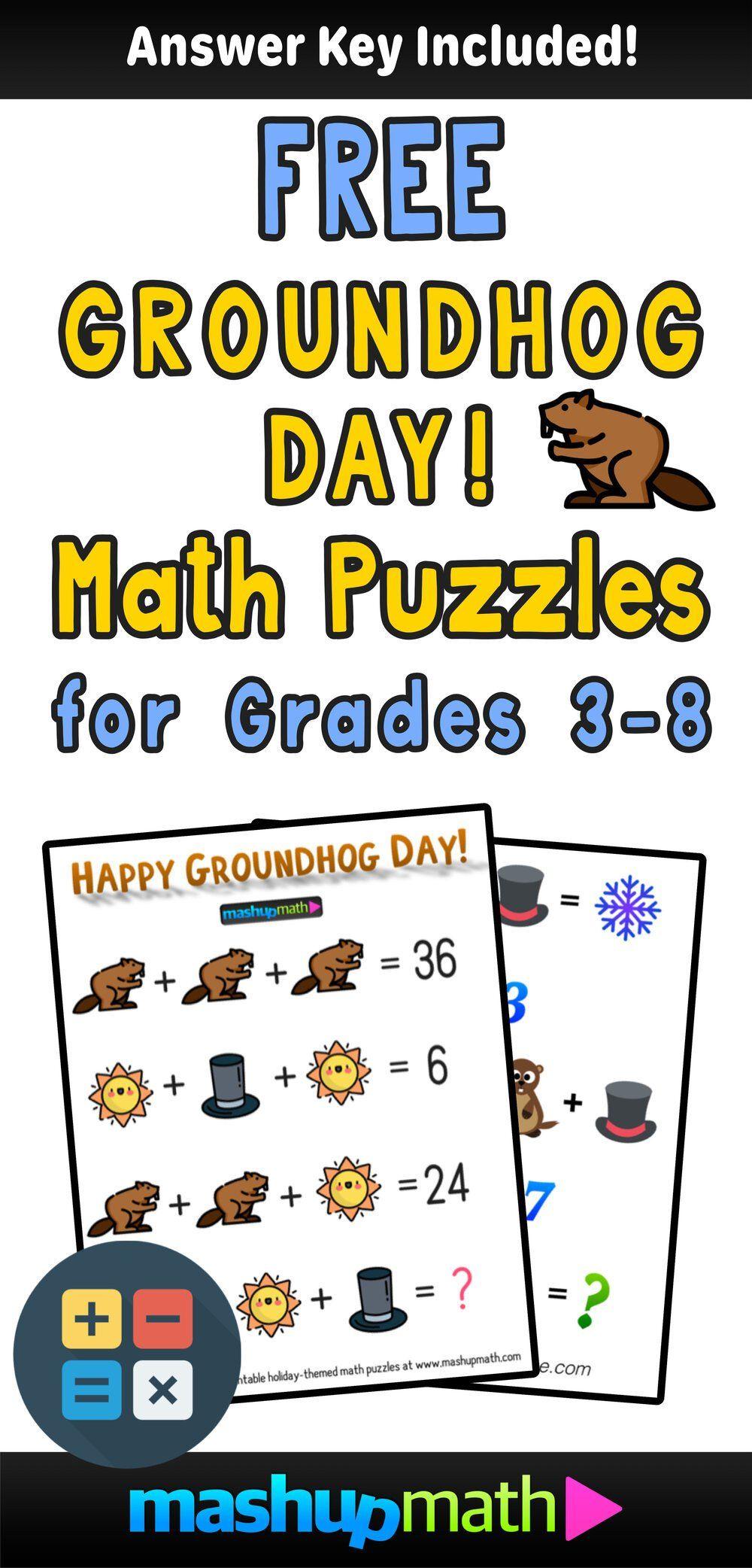 Groundhog Day Math Worksheets Free Inspirational Free Groundhog Day Math Puzzle For Grades 3 8 Mashup M Maths Puzzles Math Worksheets Math Graphic Organizers [ 2084 x 1000 Pixel ]