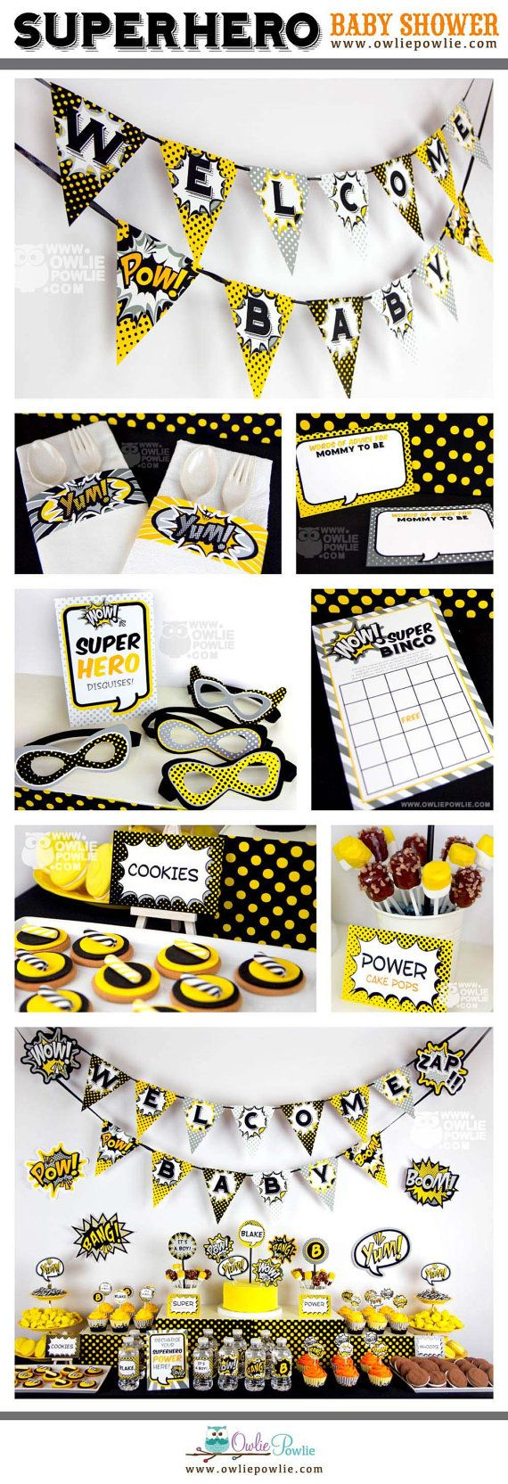 Superhero BABY Shower Party Printable Package & Invitation, EDITABLE pdf, comic book baby shower,Instant download Printable Digital