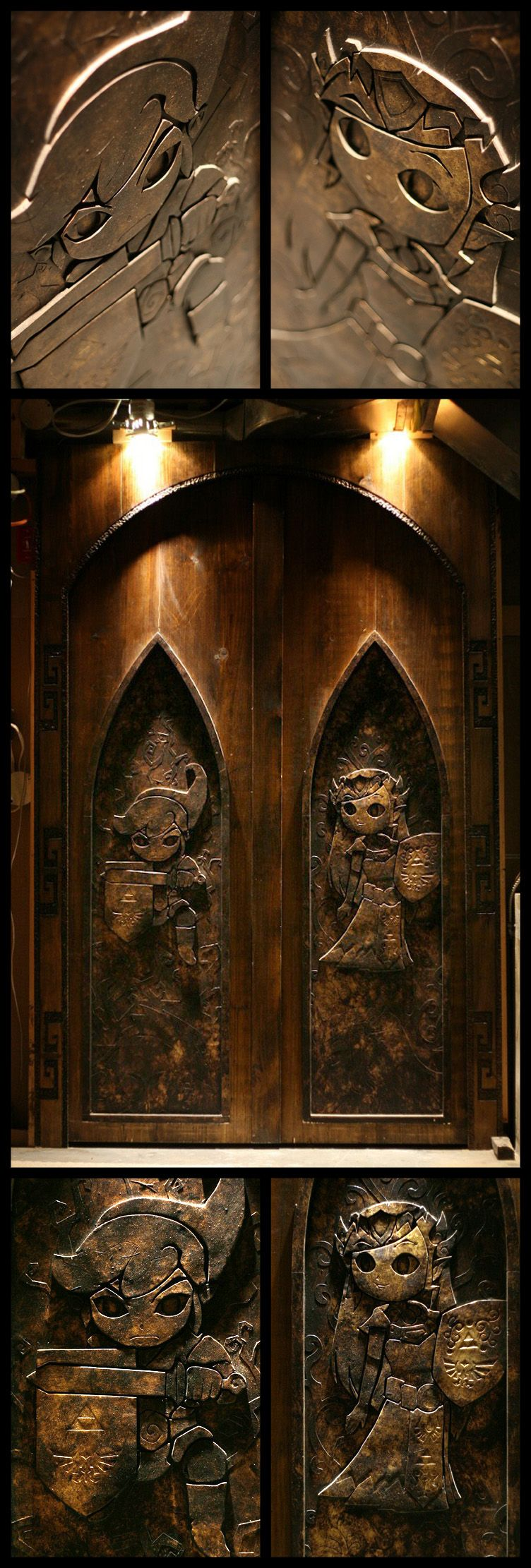 Wooden handcarved legend of zelda doors via avsforums user