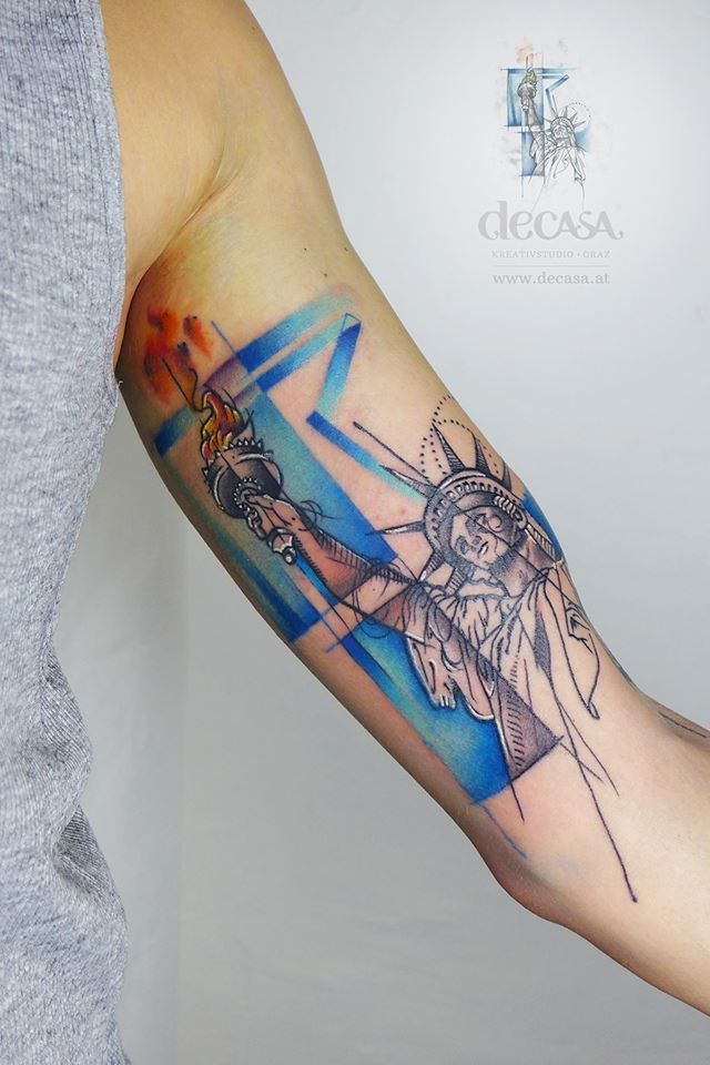 Watercolor Abstract Tattoo Statue Of Liberty Tattoos Statue