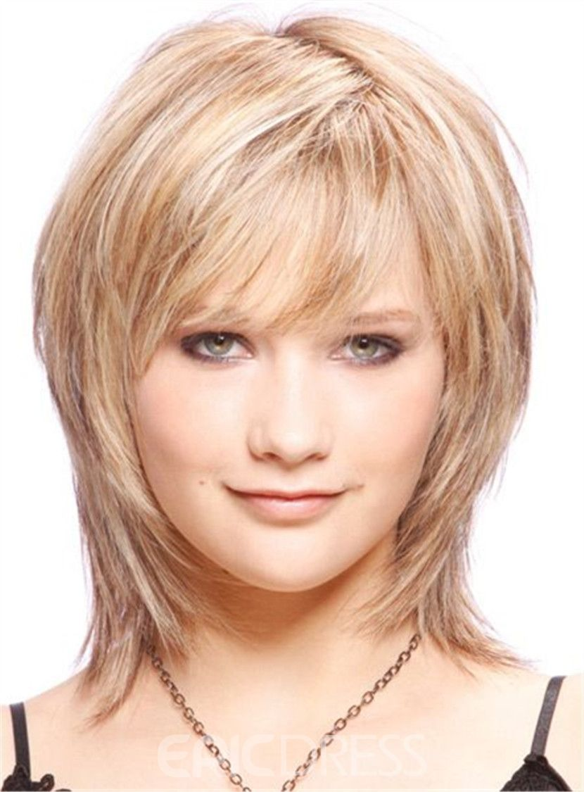 Cute short layered blonde haircut synthetic hair capless wigs