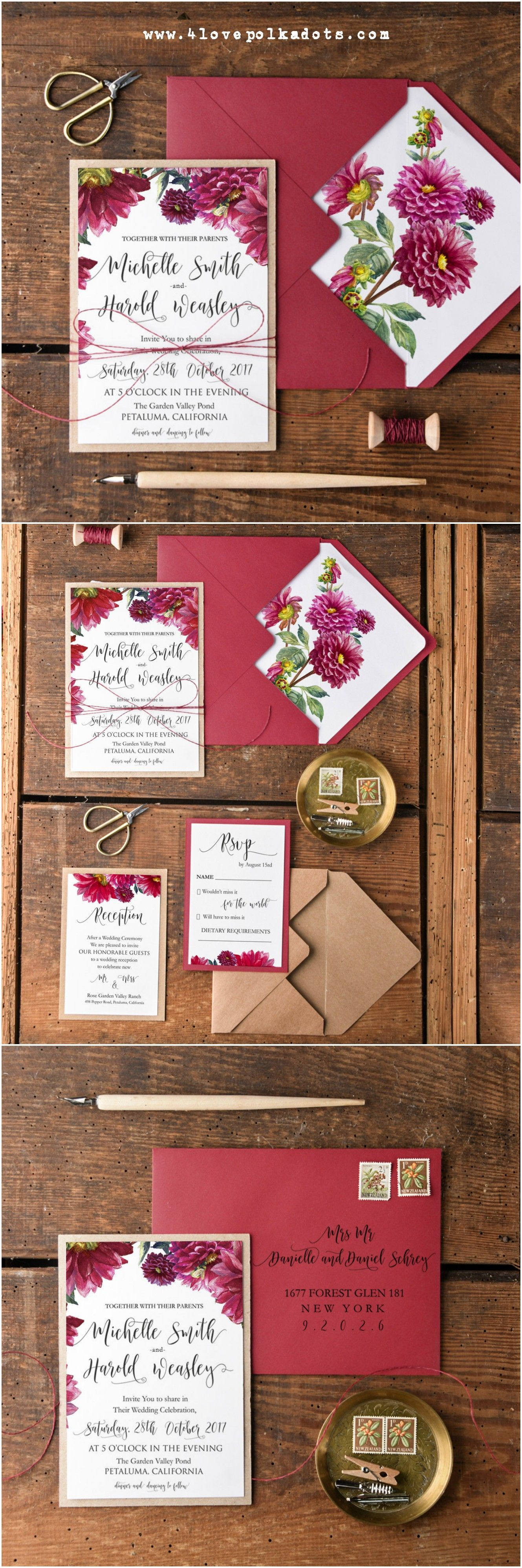 Wedding invitations with Dahlias flowers #weddingideas ...