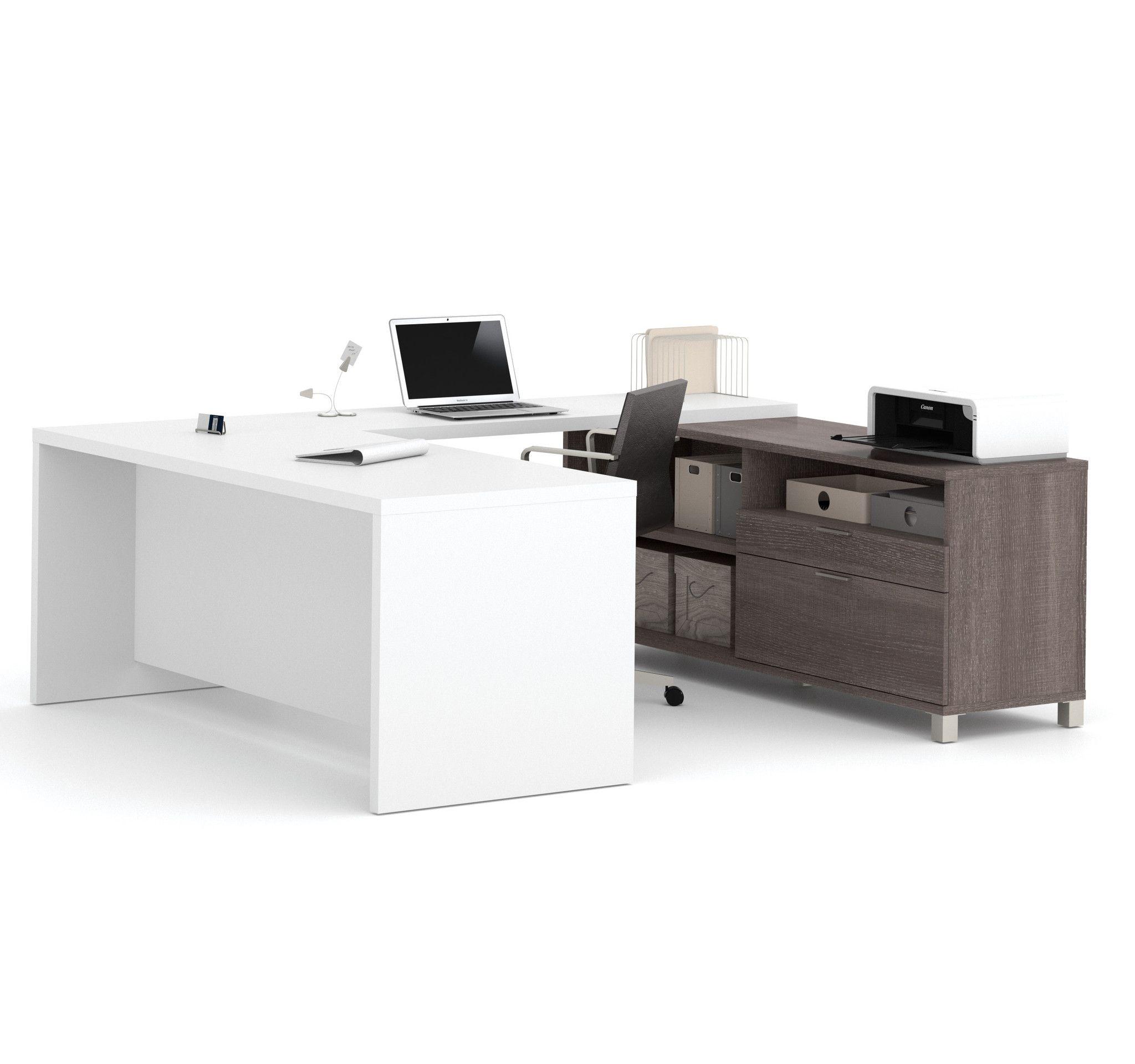 Premium Modern U-shaped Desk in White & Bark Gray | Barking F.C. ...