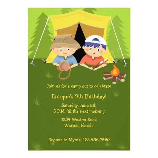"camping pals birthday invitation "" x "" invitation card  camp, invitation samples"