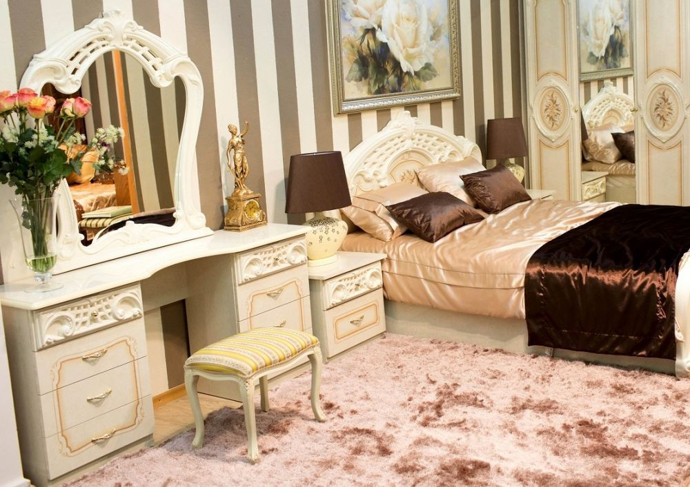 schlafzimmer 6 tlg klassisch hochglanz bett 180x200 beige. Black Bedroom Furniture Sets. Home Design Ideas