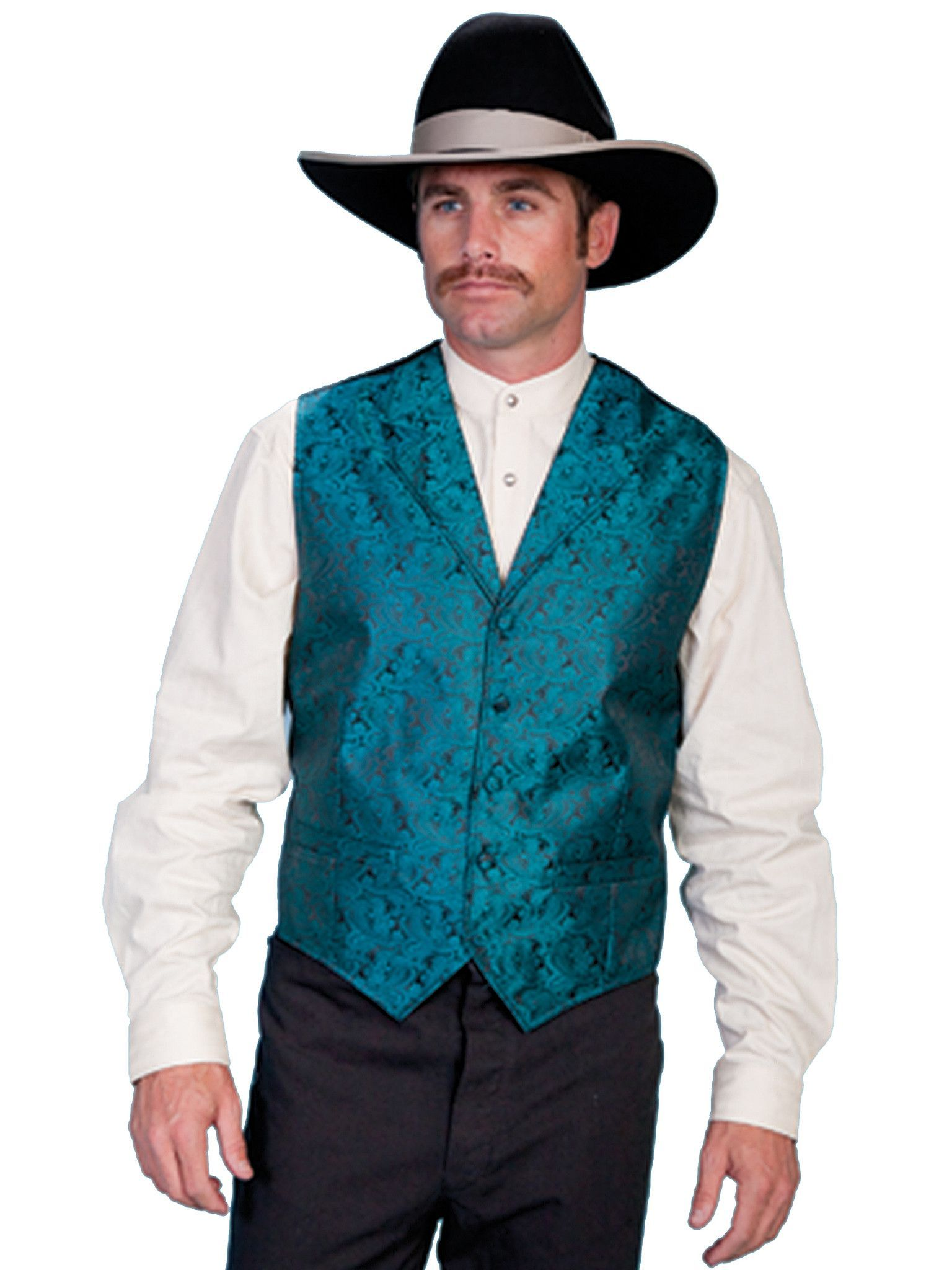 Scully Rangewear Mens Teal Polyester Paisley Old West Vest | FASHION ...