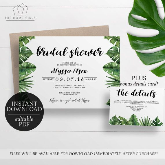 Bridal Shower Invitation Palm Leaf Editable Template Tropical