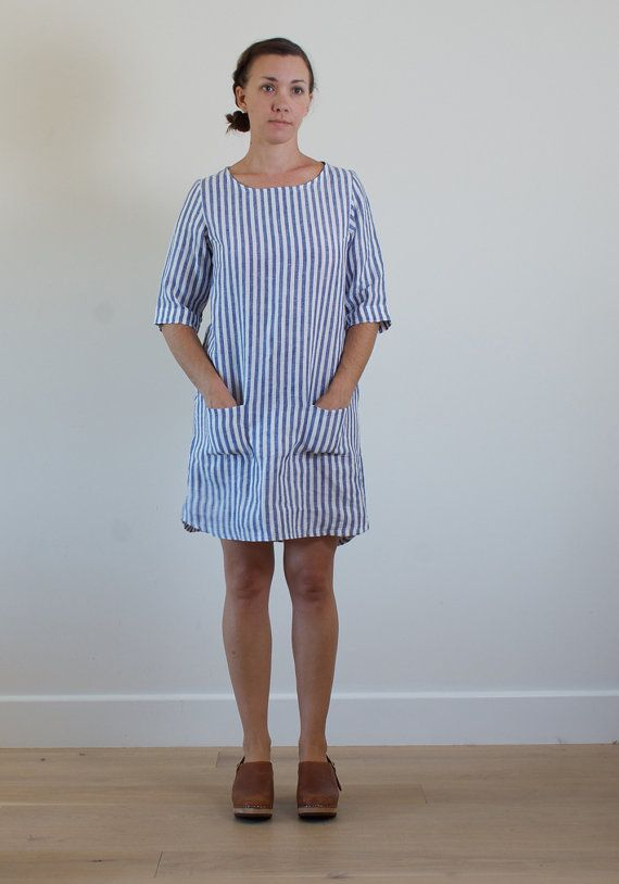 0457a27f83 Striped linen shift dress with pockets. Functional and beautiful ...