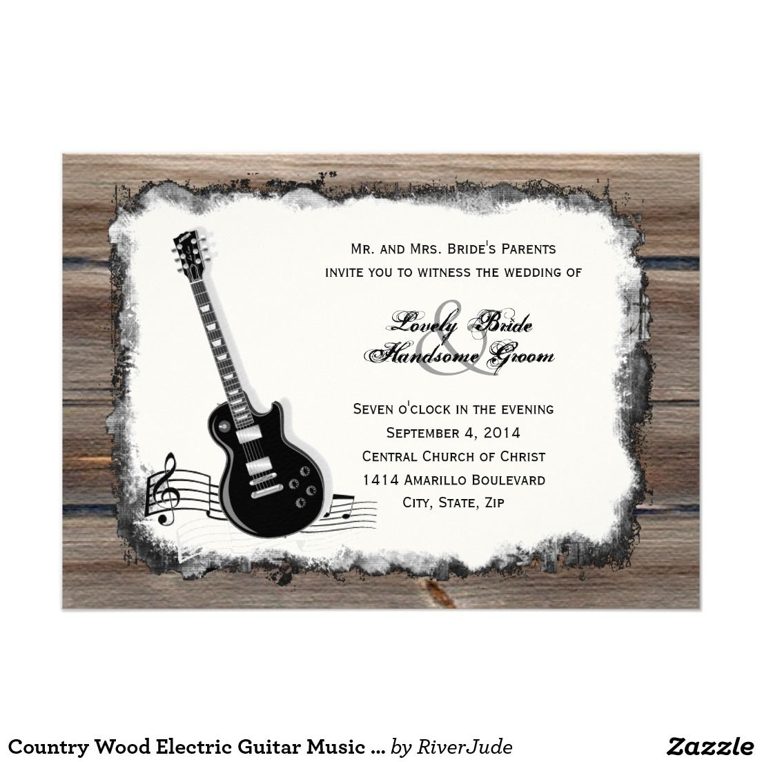 Guitar Wedding Songs: Country Wood Electric Guitar Music Wedding Invite