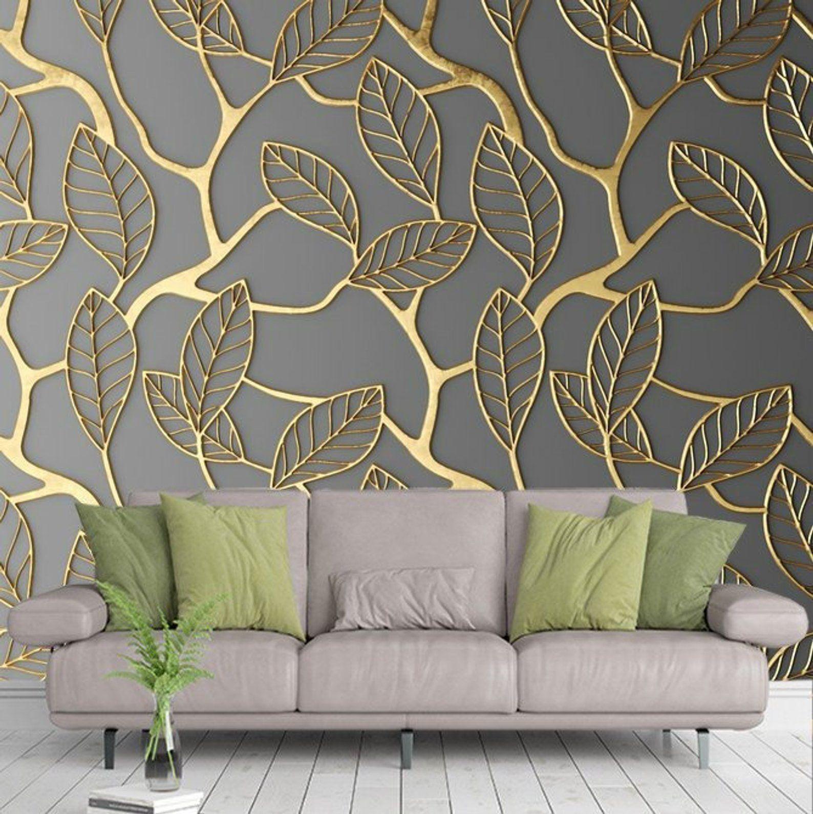 Photo Wallpaper Wall Murals Golden Leaves WallPainting