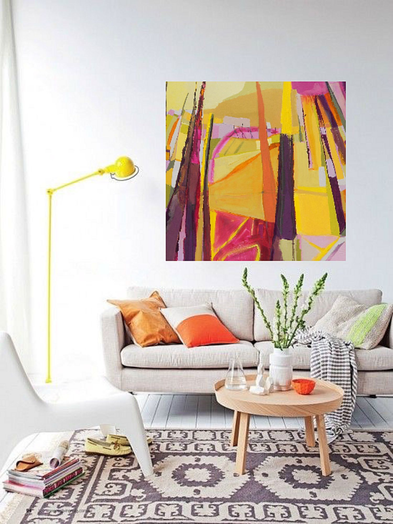 Bold colorful abstract art landscape painting by danielle nelisse completes interior design for Landscape paintings for living room