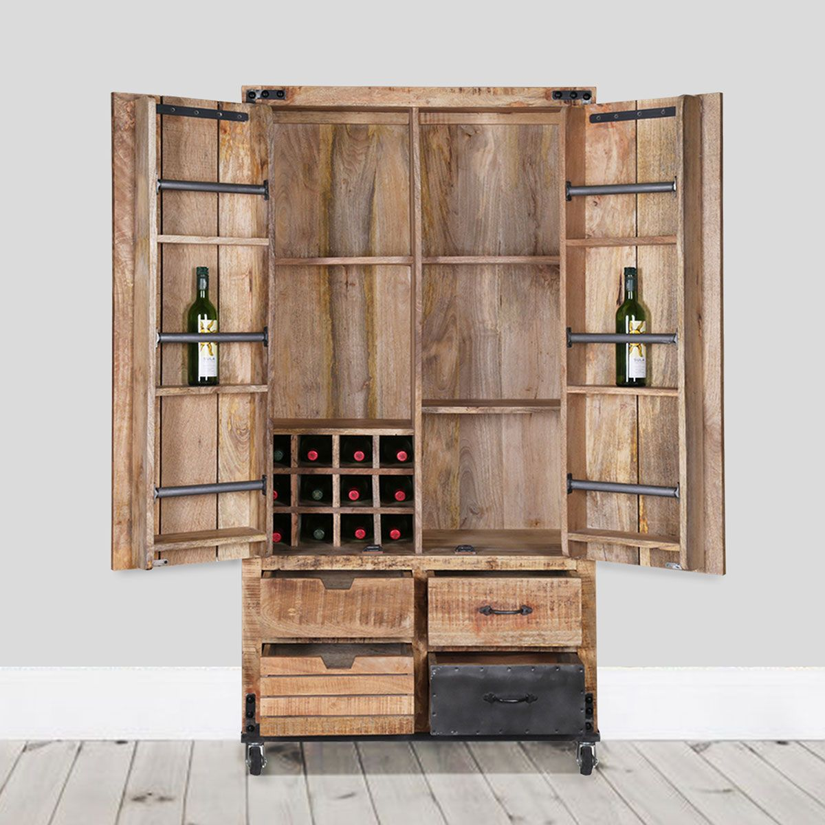 Industrial Styling And High Function Give The Savannah Handcrafted Solid Wood 2 Door Industrial Wine Bar Wine Bar Cabinet Bar Furniture Bar Furniture For Sale