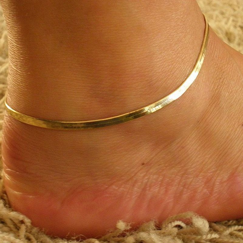 d17a16c0e86 Trendy Silver Gold Color Simple Snake Chain Anklets Summer Barefoot Sandals  Charm Ankel Bracelets For Women Foot Jewelry