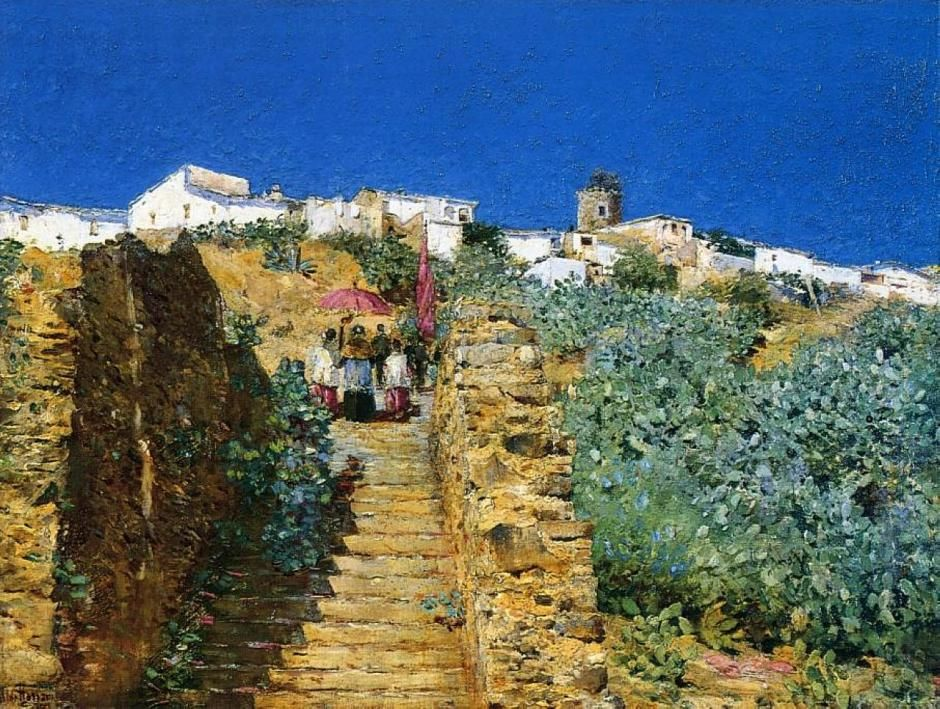 """Frederick Childe Hassam (1859-1935) ~ """"Church Procession, Place d'Espagne"""", c 1883 ~ Oil on Canvas ~ Private Collection"""