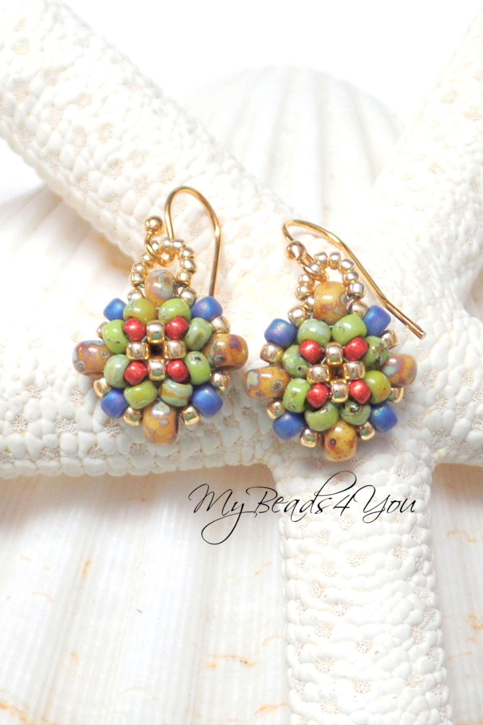 beaded earrings dangle earrings faux pearl /& golden beads decorative head pins gold plated ear wires,Golden Stardust drop earrings