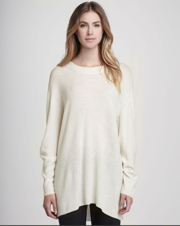 Theyskens Theory Cream Kiho Oversized Thin Wool Blend Knit Sweater ...